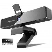 Walfront 2K Wide-Angle HD Webcam with Privacy Cover & Mic