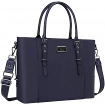 "MOSISO FauxLeather 15.6"" Chic Navy Blue Laptop Tote Bag"