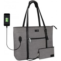 """TANTO Grey Large 15.6"""" Laptop Tote Bag with USB Charger"""