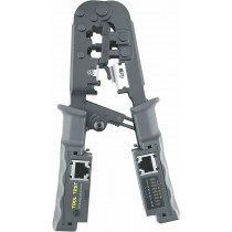 Epsilont 2-in-1 Crimping Tool and Cable Tester for 4P/6P/8P, RJ-11/RJ-12/RJ-45 Network