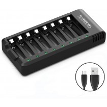 POWEROWL 8-Bay AA/AAA Battery Charger