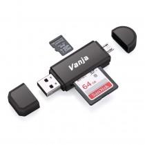 Vanja SD/Micro SD Card Reader with USB & OTG Adapter