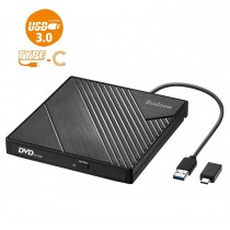 Rodzon USB 3.0 Type C Portable CD-DVD +/-RW Drive