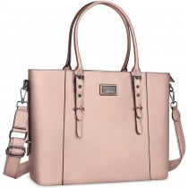 "MOSISO FauxLeather 15.6"" Chic Rose Gold Laptop Tote Bag"