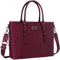 "MOSISO FauxLeather 15.6"" Chic Wine Red Laptop Tote Bag"