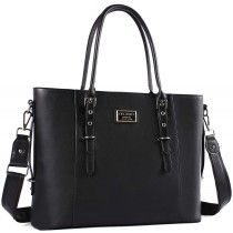 "MOSISO FauxLeather 15.6"" Chic Black Laptop Tote Bag"