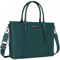 "MOSISO FauxLeather 15.6"" Chic Deep Teal Laptop Tote Bag"