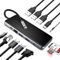 ORIFA 12-in-1 Triple Display USB-C Hub